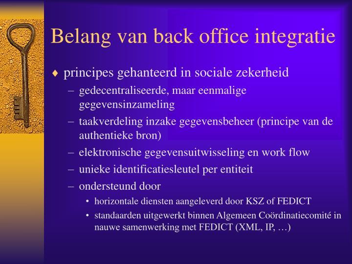 Belang van back office integratie