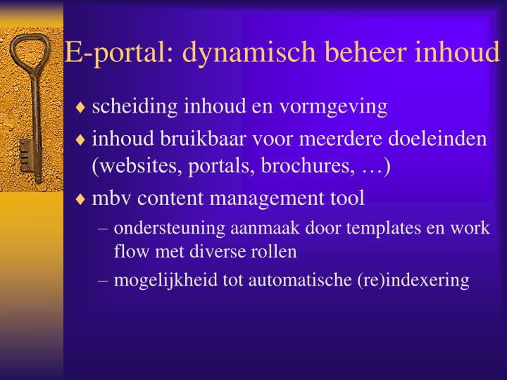 E-portal: dynamisch beheer inhoud