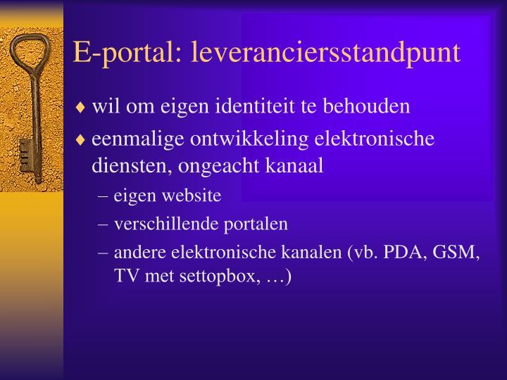 E-portal: leveranciersstandpunt