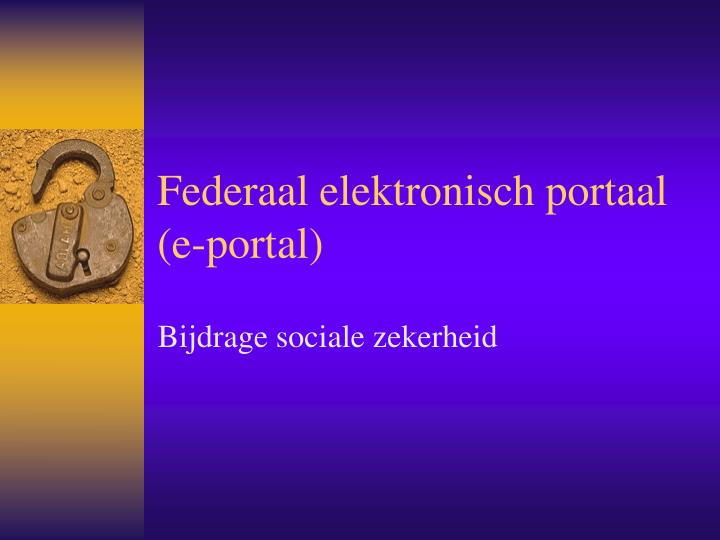 Federaal elektronisch portaal e portal