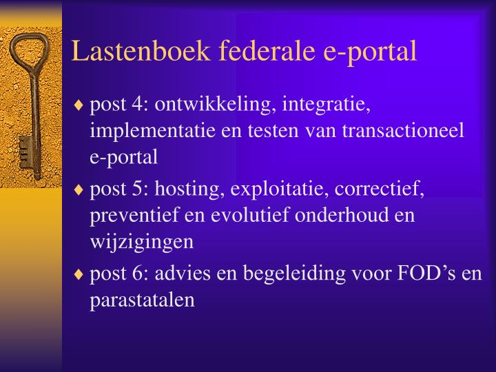 Lastenboek federale e-portal