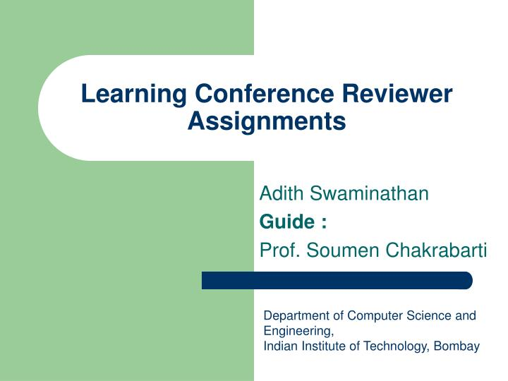 learning conference reviewer assignments n.