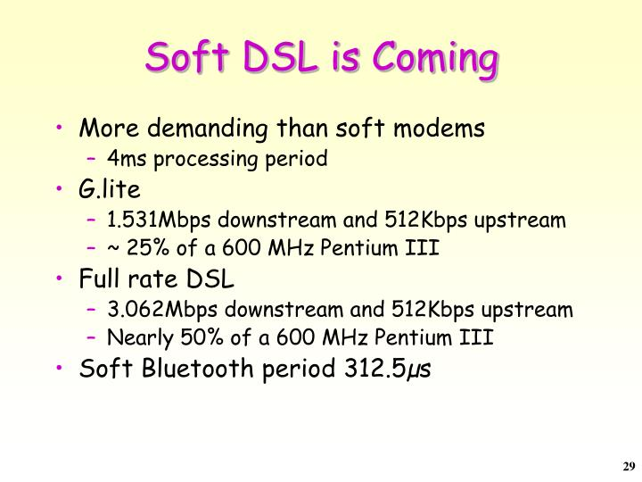 Soft DSL is Coming