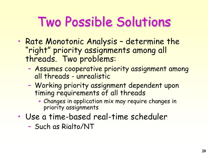 Two Possible Solutions