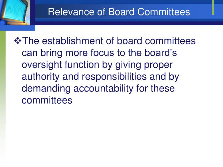 Relevance of board committees