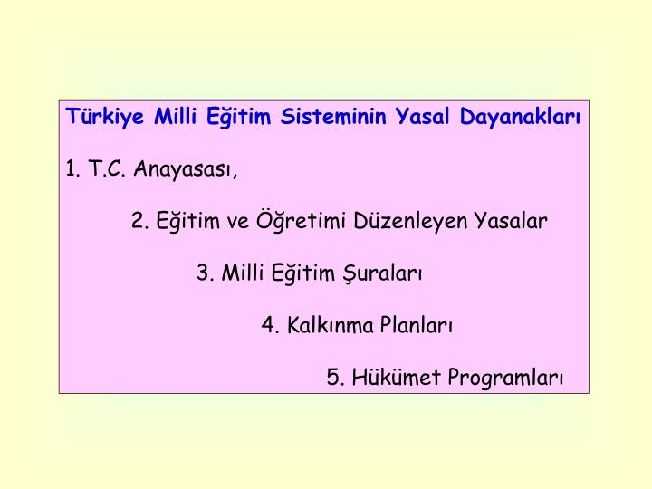 Türkiye Milli Eğitim Sisteminin Yasal Dayanakları