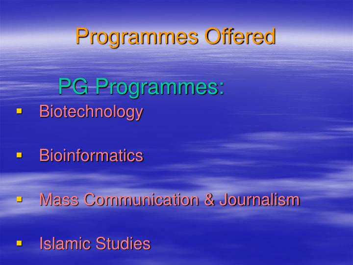 Programmes Offered