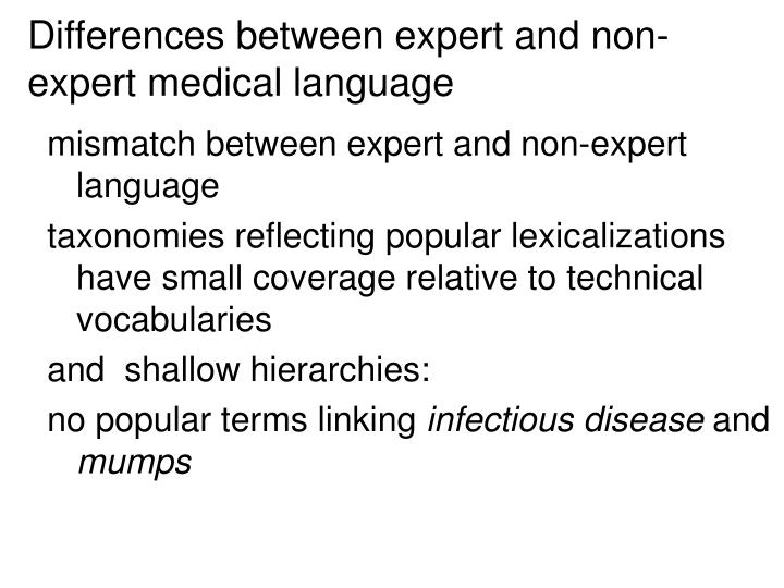 Differences between expert and non-expert medical language