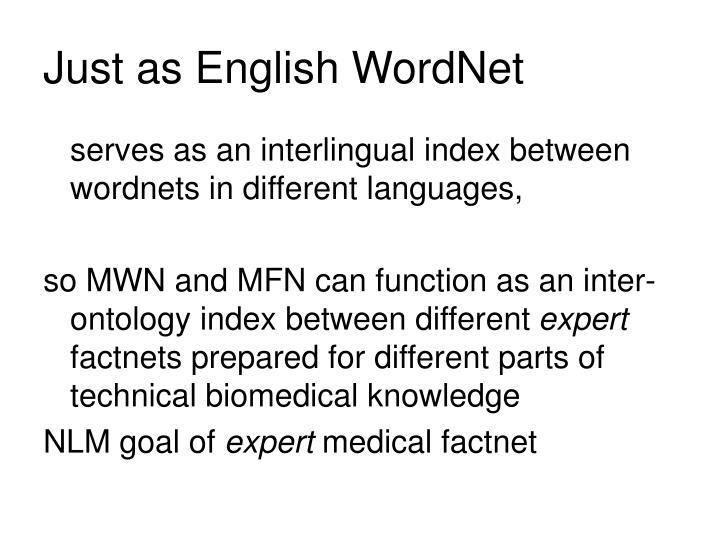 Just as English WordNet