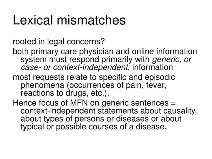 Lexical mismatches