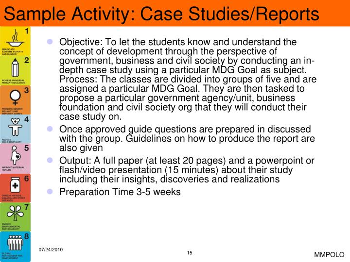 Sample Activity: Case Studies/Reports