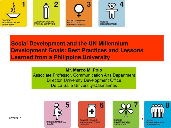 Social Development and the UN Millennium Development Goals: Best Practices and Lessons Learned from ...