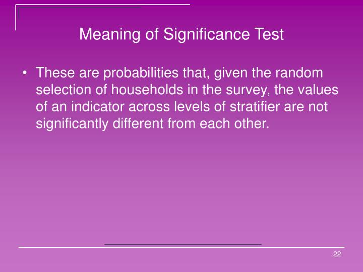 Meaning of Significance Test