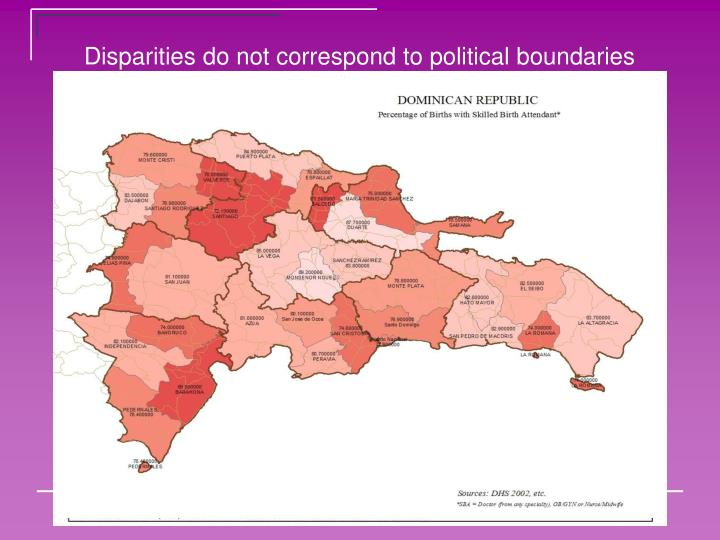 Disparities do not correspond to political boundaries