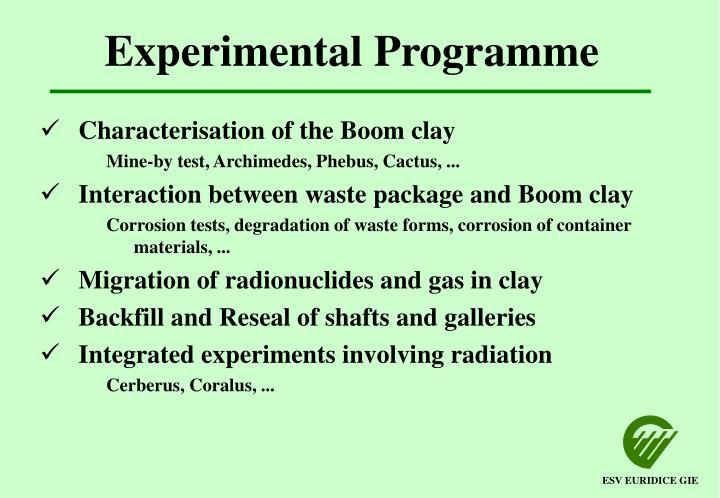Experimental Programme