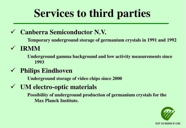 Services to third parties