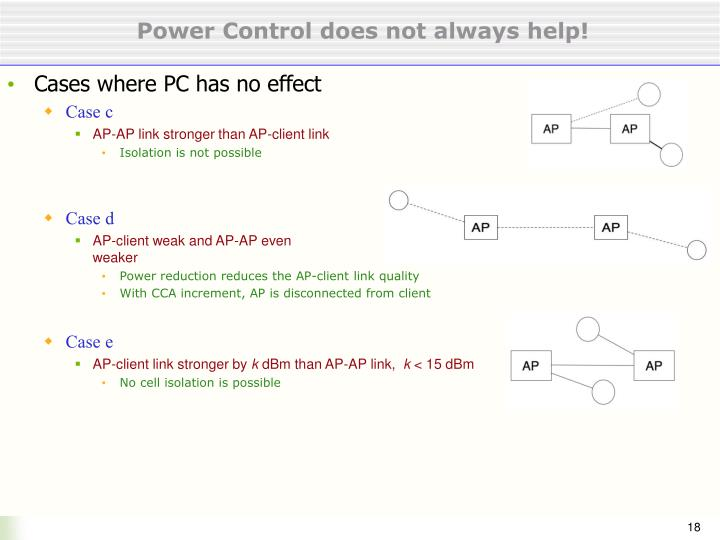 Power Control does not always help!