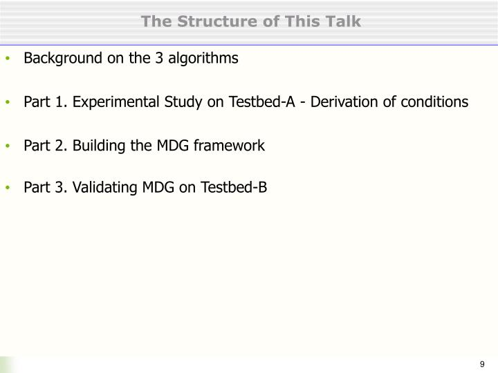 The Structure of This Talk