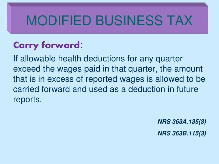 MODIFIED BUSINESS TAX