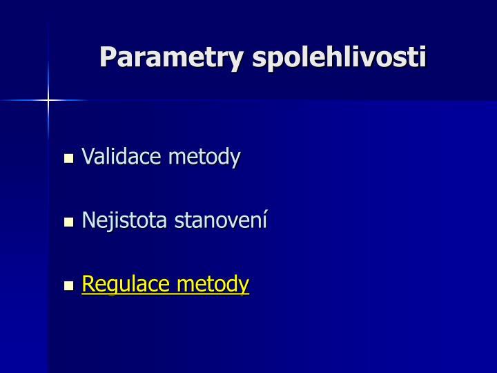 Parametry spolehlivosti