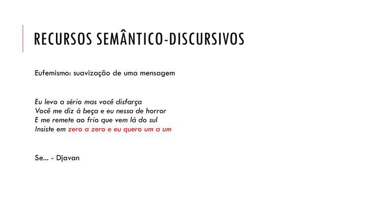 Recursos semântico-discursivos