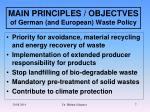 main principles objectves of german and european waste policy