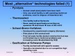 most alternative technologies failed 1