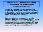 position of eu commissioner for the environment mr janez potoznik eu report from august 2012