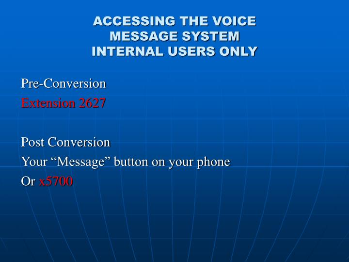 ACCESSING THE VOICE