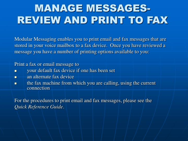 MANAGE MESSAGES-