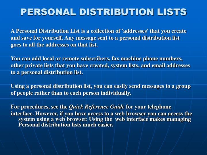 PERSONAL DISTRIBUTION LISTS