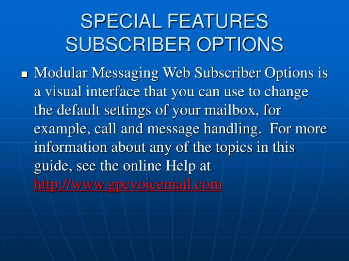 SPECIAL FEATURES
