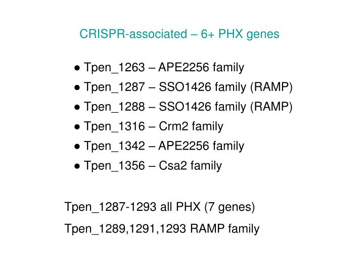 CRISPR-associated – 6+ PHX genes