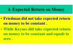 4 expected return on money