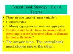 central bank strategy use of targets