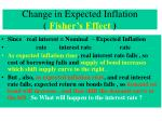 change in expected inflation fisher s effect