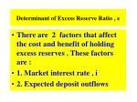 determinant of excess reserve ratio e