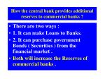 how the central bank provides additional reserves to commercial banks