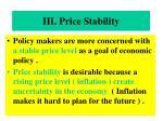 iii price stability