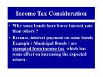 income tax consideration