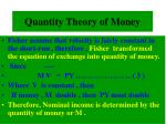 quantity theory of money1