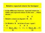 relative expected return for foreigner