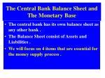 the central bank balance sheet and the monetary base