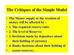 the critiques of the simple model