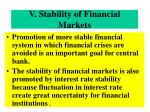 v stability of financial markets