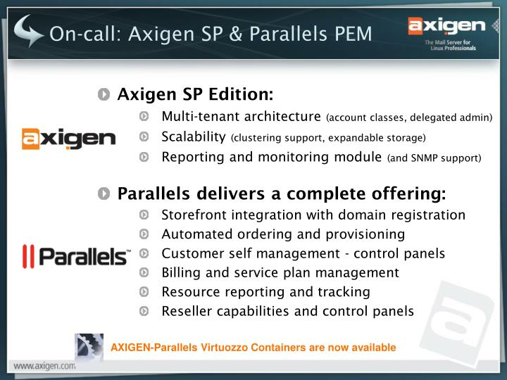On-call: Axigen SP & Parallels PEM