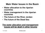 main water issues in the basin