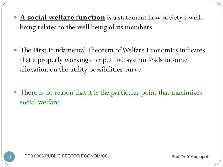 A social welfare function