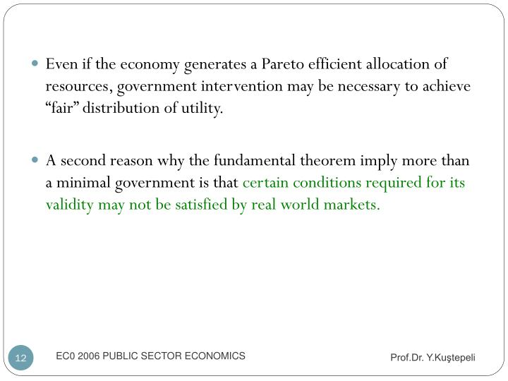 """Even if the economy generates a Pareto efficient allocation of resources, government intervention may be necessary to achieve """"fair"""" distribution of utility."""