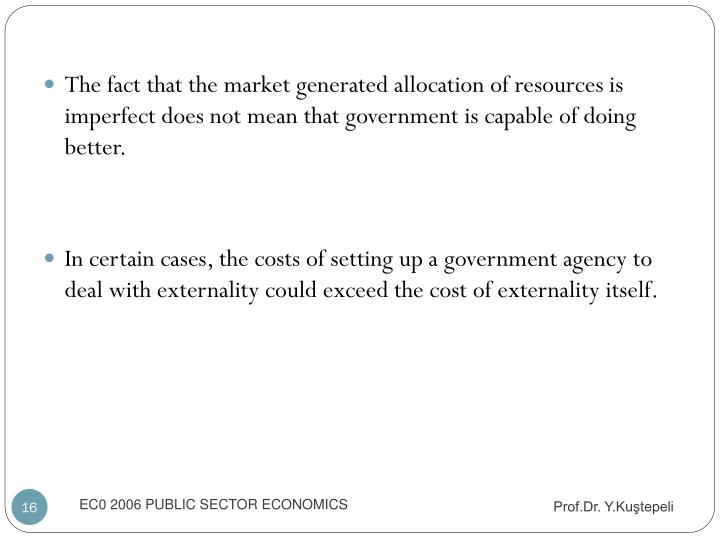 The fact that the market generated allocation of resources is imperfect does not mean that government is capable of doing better.